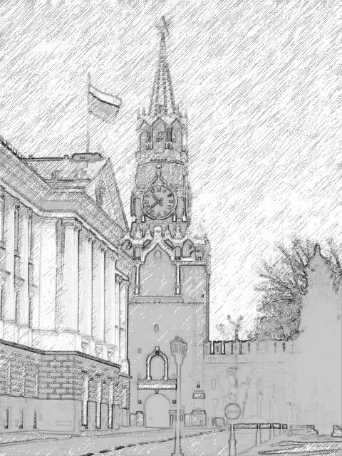 Рисунок карандашом башня кремля